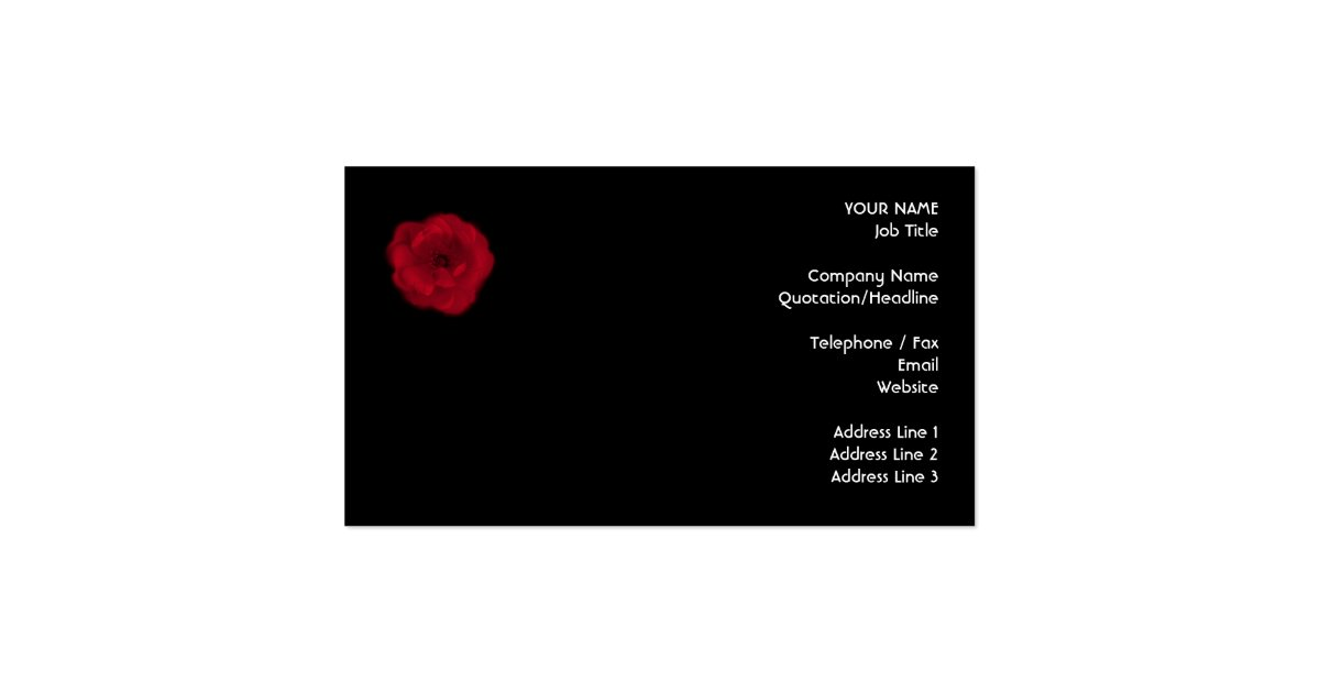 Red rose black background business card zazzle for Business card background black