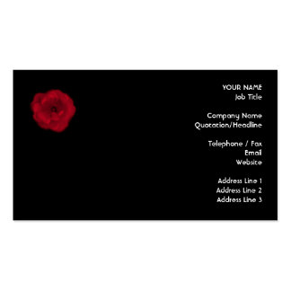 Red Rose. Black Background. Business Card
