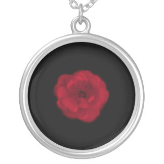 Red Rose. Black Background. Round Pendant Necklace