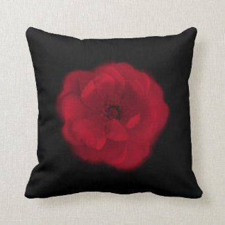 Red Rose. Black Background. Throw Pillow
