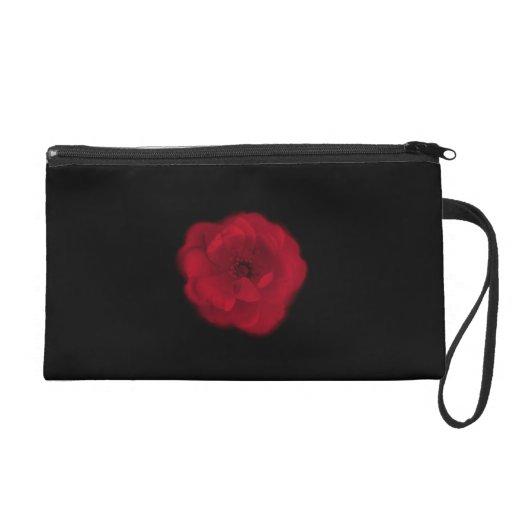 Red Rose. Black Background. Wristlet Purses