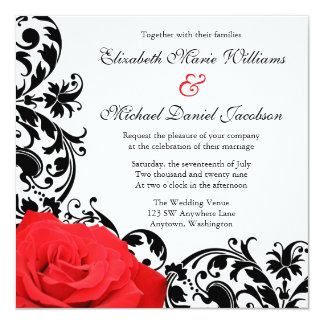 Red Black Wedding Invitations & Announcements   Zazzle