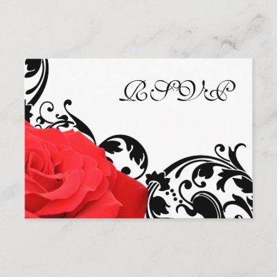 Red Rose Black Flourish Wedding RSVP Response Card