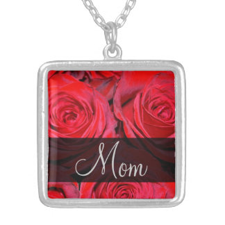 Red Rose Black Silver Mom Silver Plated Necklace