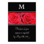 Red Rose Black Silver Monogram Wedding Response Card