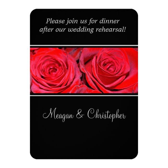 Red Rose Black Silver Wedding Rehearsal Dinner Card