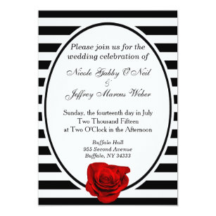 Black White Red Wedding Invitations Zazzle