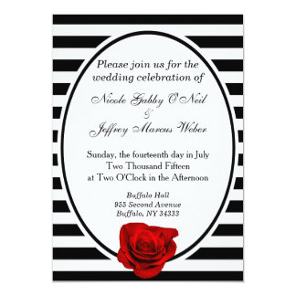 Red Rose Black & White Stripes Wedding Invitation