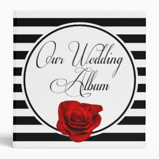 Red Rose Black & White Stripes Wedding Photo Album Binder