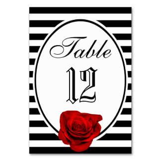 Red Rose Black & White Stripes Wedding Table Card