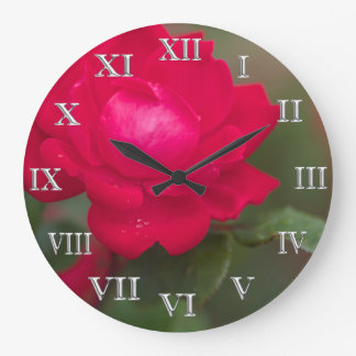 Red Rose Bloom Morning Dew Silver Roman Numerals Large Clock