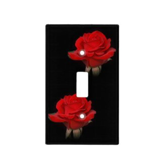 Red Rose Blooms on Black Light Switch Covers