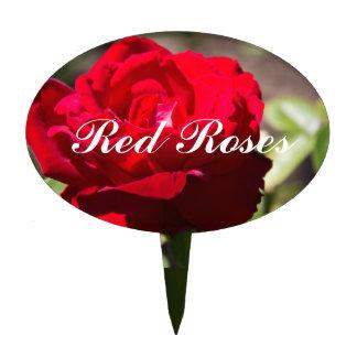 Red Rose Blossom Garden Pick Cake Picks