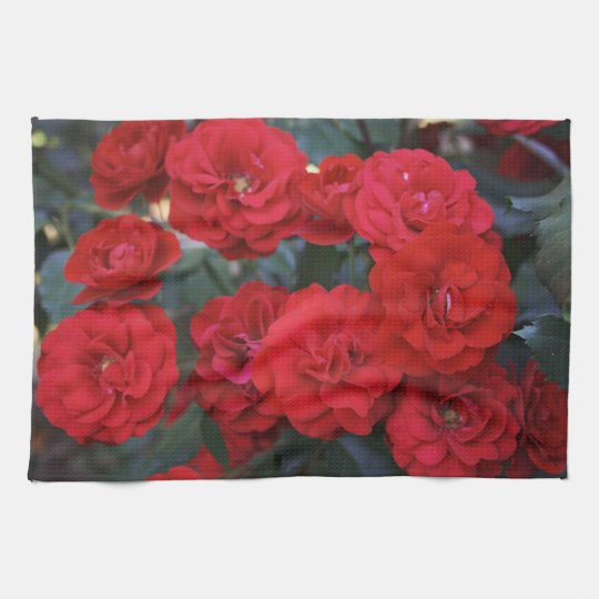 Red Rose Blossoms - flower photography Kitchen Towel