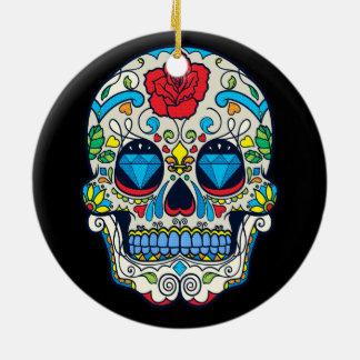 Red Rose & Blue Diamonds Floral Skull Ceramic Ornament