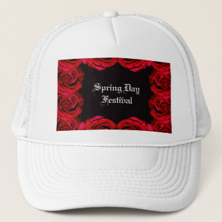 Red rose border trim hat (customise)