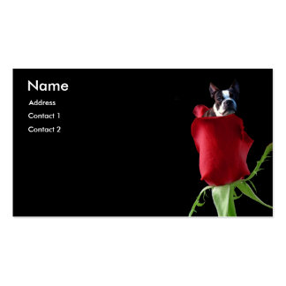 Red Rose Boston Terrier business cards