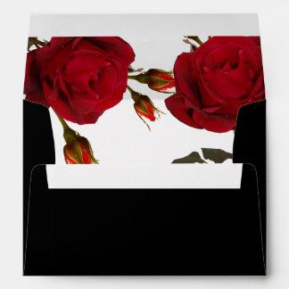 Red Rose Botanical Modern Wedding Black Envelope