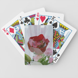 Red Rose Botanical Overlay Personalise Design Bicycle Playing Cards