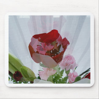 Red Rose Botanical Overlay Personalise Design Mouse Pad