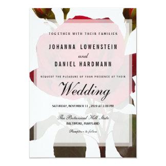 Red Rose Botanical Wedding Modern Card