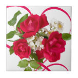 Red Rose Bouquet and Ribbon Small Square Tile