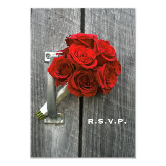 Red Rose Bouquet & Barn Wood Wedding RSVP 3.5x5 Paper Invitation Card