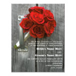Red Rose Bouquet & Barnwood Wedding Announcements
