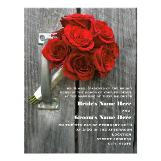 Red Rose Bouquet Barnwood Wedding Announcements