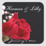 Red Rose Bouquet Personalized Wedding Square Sticker