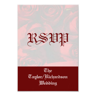 """""""Red Rose Bouquet"""" - RSVP w/ Names (a) Card"""