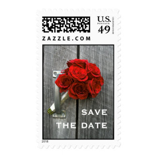 Red Rose Bouquet Save The Date Postage