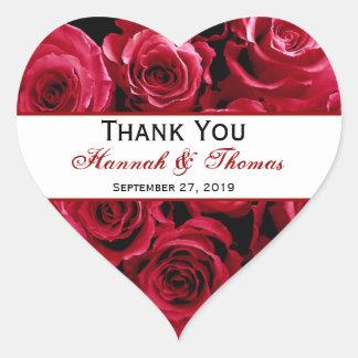 Red Rose Bouquet Thank You Bride Groom Wedding Heart Sticker