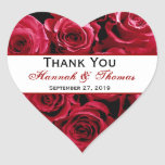 Red Rose Bouquet Thank You Bride Groom Wedding Stickers