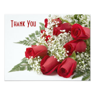 Red Rose Bouquet Thank You Card Custom Invitation