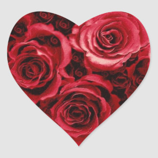 RED Rose Bouquet - Wedding Envelope Seal Heart Sticker