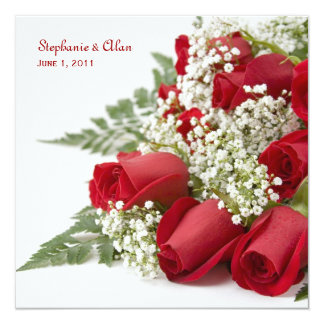 Red Rose Bouquet Wedding Invitation