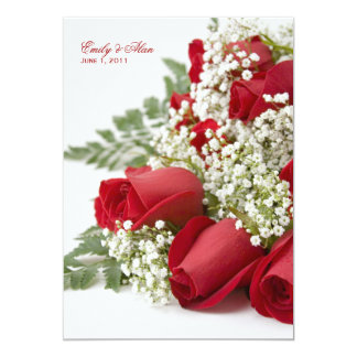 "Red Rose Bouquet Wedding Invitations 5"" X 7"" Invitation Card"