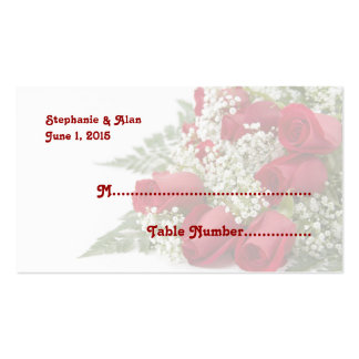 Red Rose Bouquet Wedding Place Cards Business Card