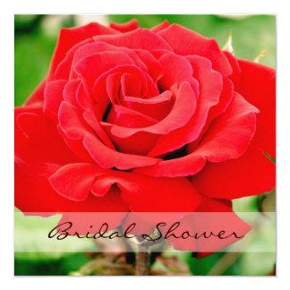 Red Rose Bridal Shower Square Card