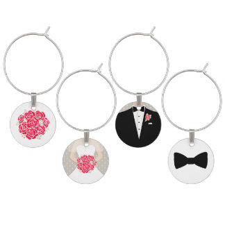 Red rose bride groom & honours wedding charms