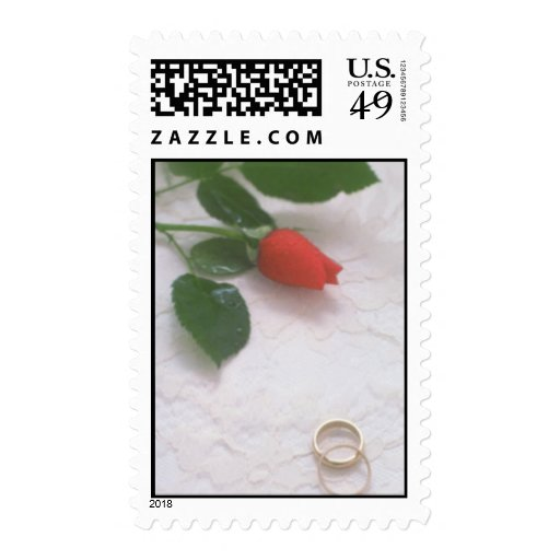 Red Rose Bud and Wedding Bands Postage Postage Stamps