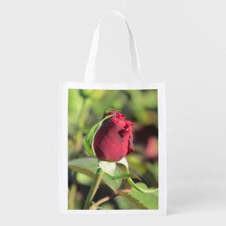Red Rose Bud Grocery Bag