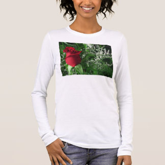 Red Rose Bud Long Sleeve T-Shirt