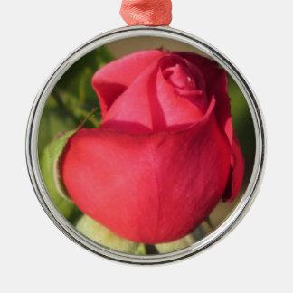 Red Rose Bud Metal Ornament