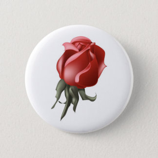 Red Rose Bud Pinback Button