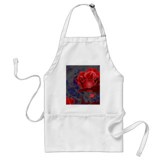 Red Rose Bud Roses Flower Flowers Adult Apron