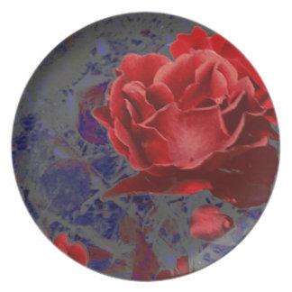 Red Rose Bud Roses Flower Flowers Plate