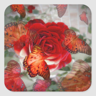 Red Rose Butterflies Square Sticker