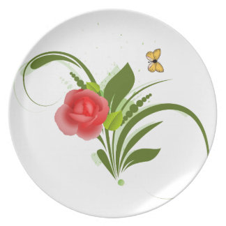Red Rose+Butterfly Dinner Plate